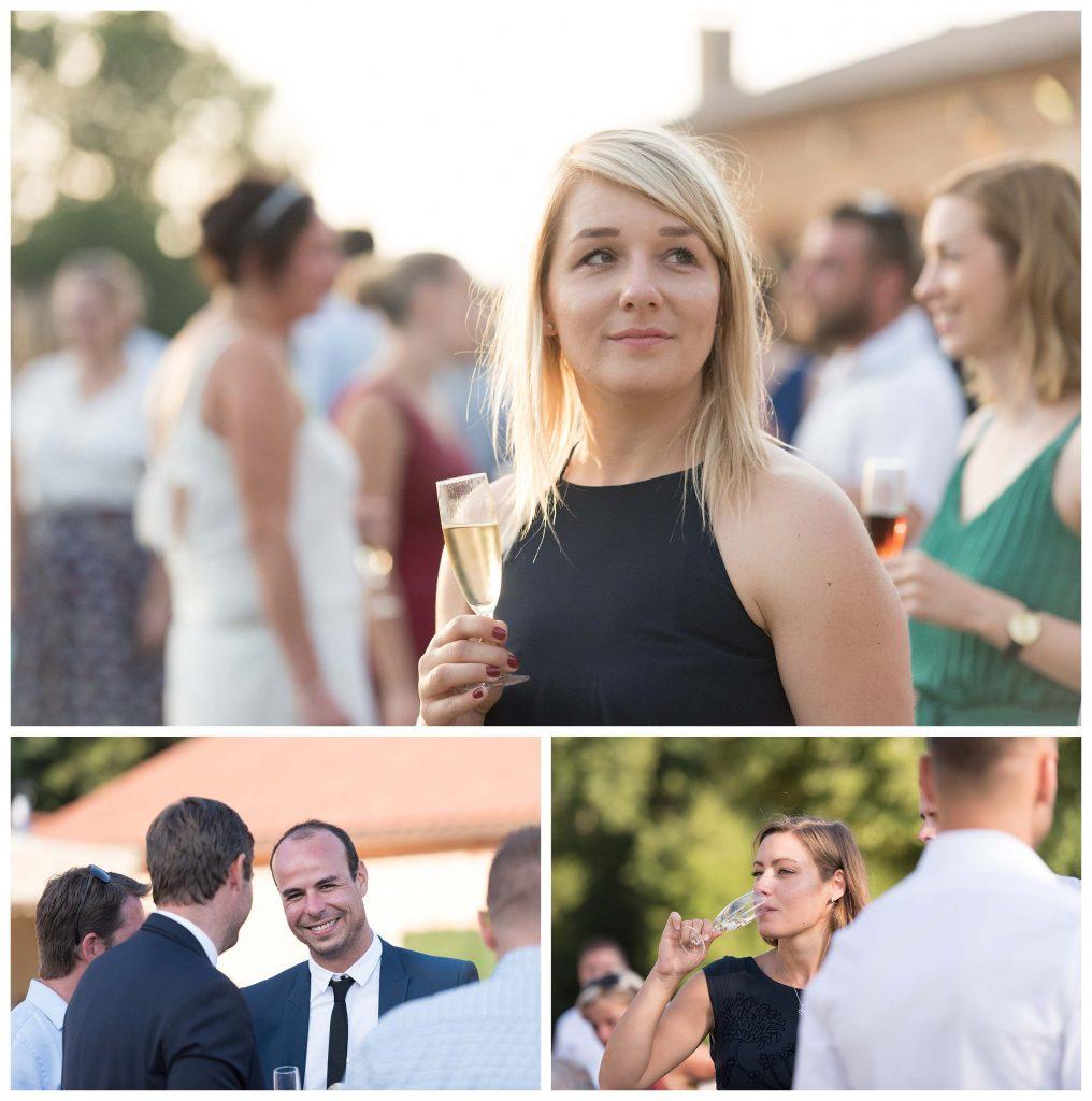 invités pendant le cocktail de mariage