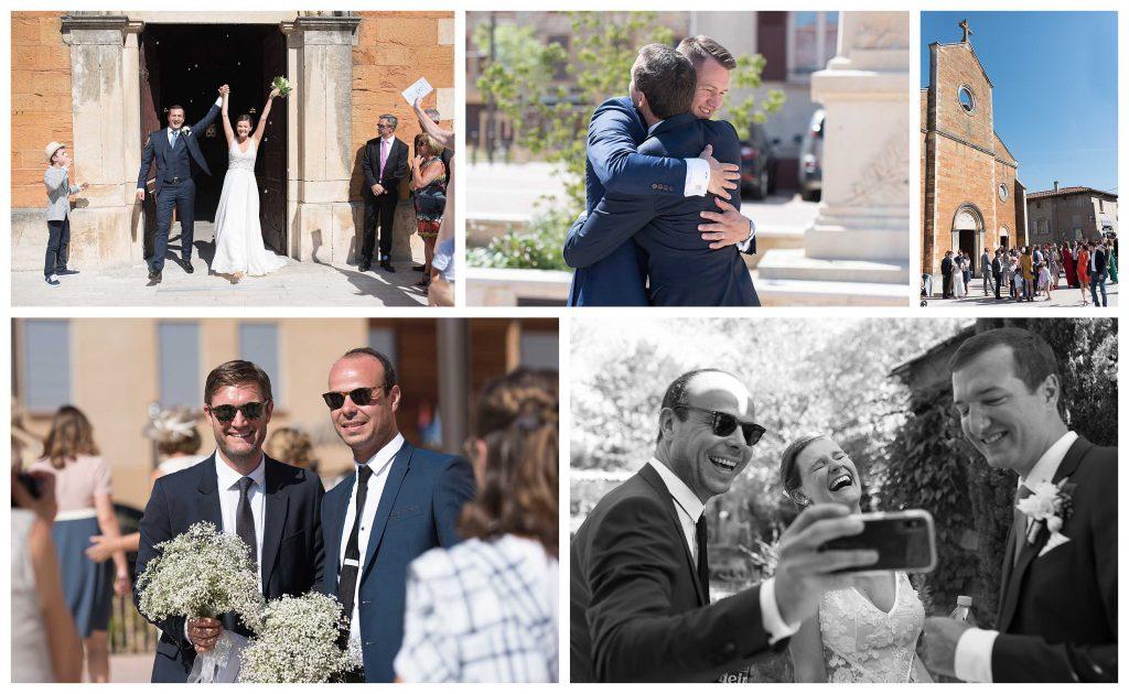 la sortie d'église des mariés