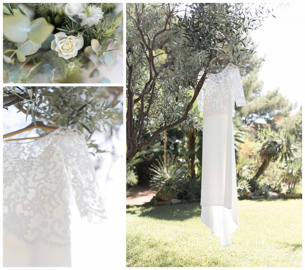 robe de mariée dans le jardin